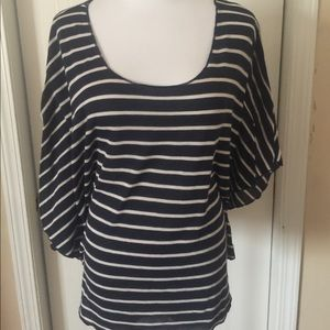 Xhilaration navy/stripe flutter sleeve top xl
